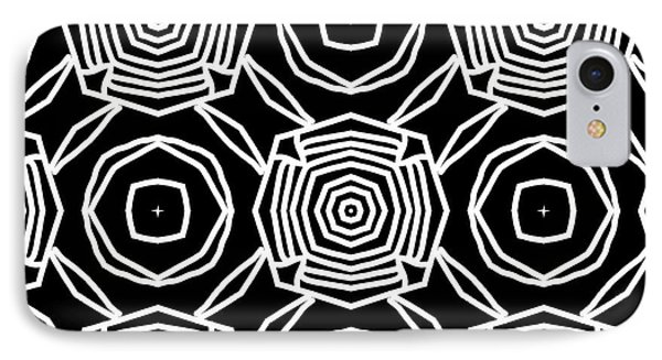 Black And White Modern Roses- Pattern Art By Linda Woods IPhone Case