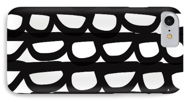 Shapes iPhone 8 Case - Black And White Pebbles- Art By Linda Woods by Linda Woods