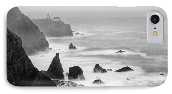 Black And White Photograph Of Point Bonita Lighthouse - Marin Headlands San Francisco California IPhone Case
