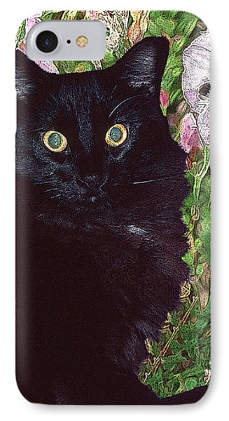Black Cat Startled By A Bee IPhone Case