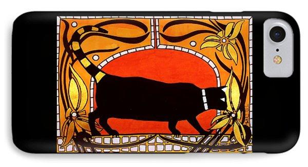 Black Cat With Floral Motif Of Art Nouveau By Dora Hathazi Mendes IPhone Case