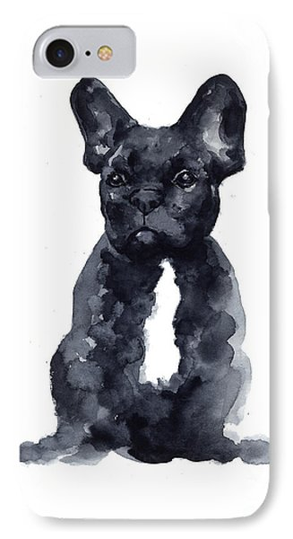 Bull iPhone 8 Case - Black French Bulldog Watercolor Poster by Joanna Szmerdt