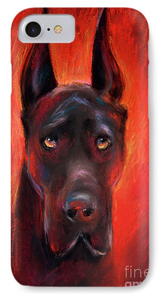 Black Great Dane Dog Painting IPhone Case