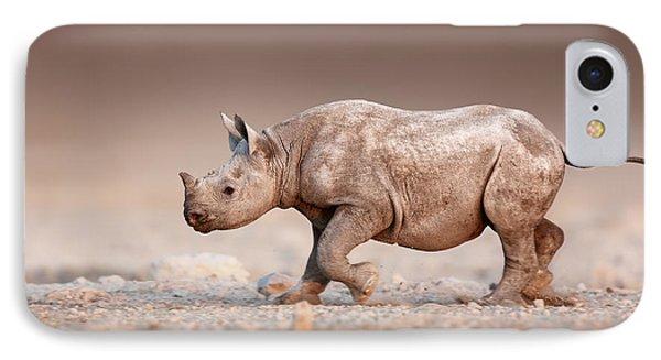 Black Rhinoceros Baby Running IPhone Case