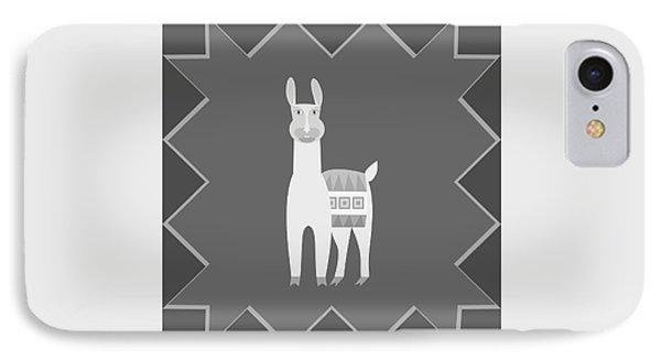 Black White Gray Llama Animal Illustration IPhone Case