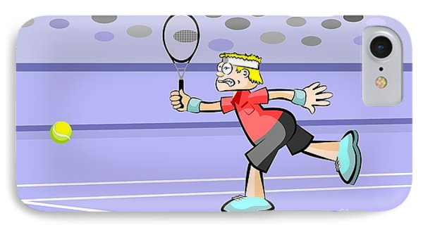 Blonde Tennis Player Hitting The Ball With His Racket IPhone Case