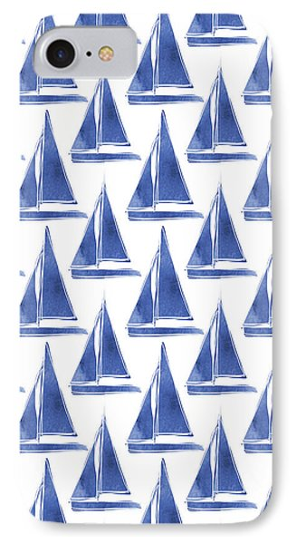 Boat iPhone 8 Case - Blue And White Sailboats Pattern- Art By Linda Woods by Linda Woods