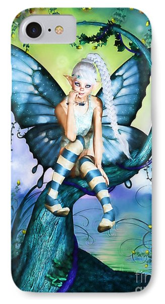 Blue Butterfly Fairy In A Tree IPhone Case