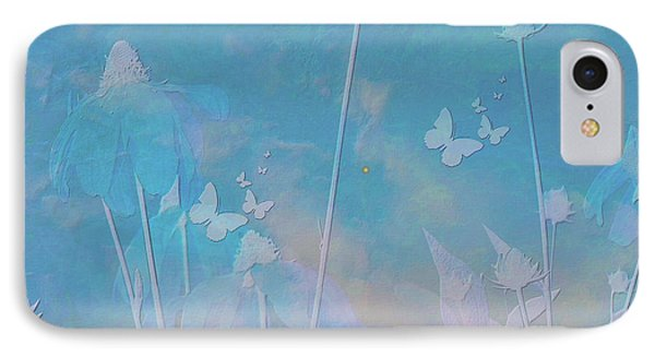 Blue Daisies And Butterflies IPhone Case