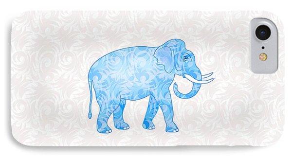 Blue Damask Elephant IPhone Case