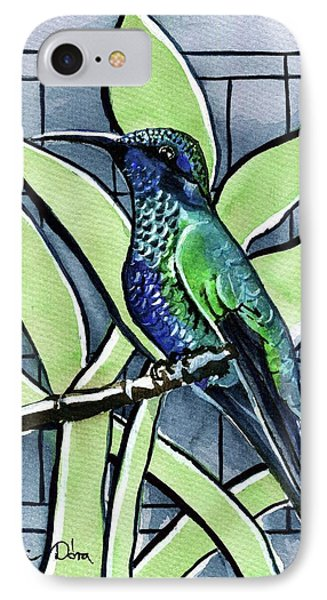 Blue Green Hummingbird IPhone Case