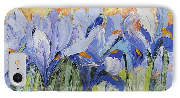Blue Irises Palette Knife Painting IPhone Case