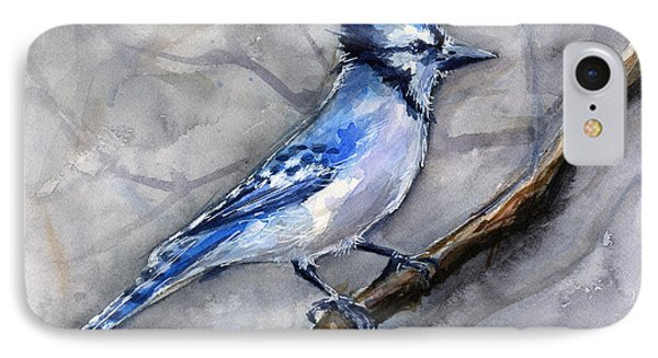 Blue Jay Watercolor IPhone Case