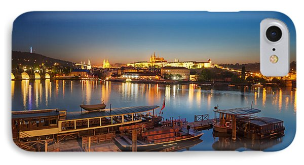 Boat Dock Near St. Vitus Cathedral, Prague, Czech Republic. IPhone Case