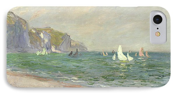 Boat iPhone 8 Case - Boats Below The Cliffs At Pourville by Claude Monet