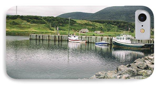 Boats Docked In Harbor Cape Bretton Island ,, Nova Scotia IPhone Case
