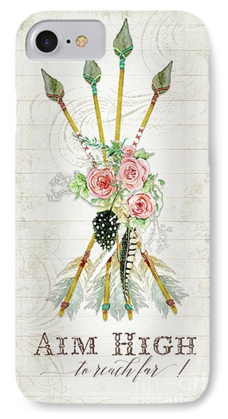 IPhone Case featuring the painting Boho Western Arrows N Feathers W Wood Macrame Feathers And Roses Aim High by Audrey Jeanne Roberts