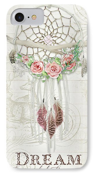 IPhone Case featuring the painting Boho Western Dream Catcher W Wood Macrame Feathers And Roses Dream Beautiful Dreams by Audrey Jeanne Roberts