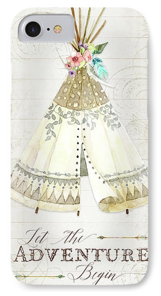 IPhone Case featuring the painting Boho Western Teepee With Arrows N Feathers W Wood Tribal Border by Audrey Jeanne Roberts