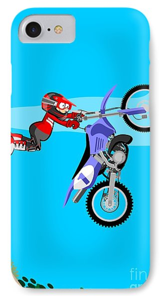 Bold Motocross Rider Jumping From A Embankment IPhone Case