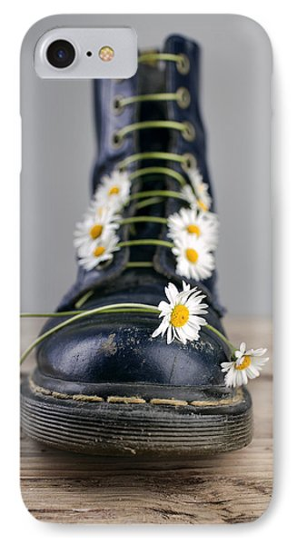Daisy iPhone 8 Case - Boots With Daisy Flowers by Nailia Schwarz