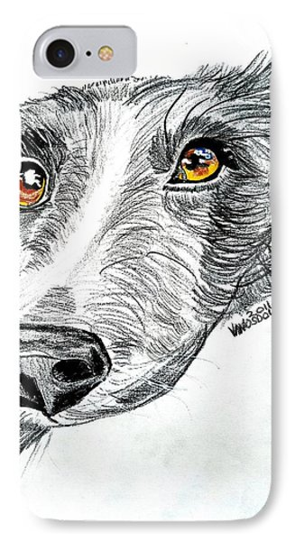 Border Collie Dog Colored Pencil IPhone Case