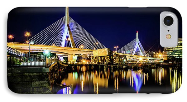 Boston Bunker Hill Zakim Bridge At Night Photo IPhone Case