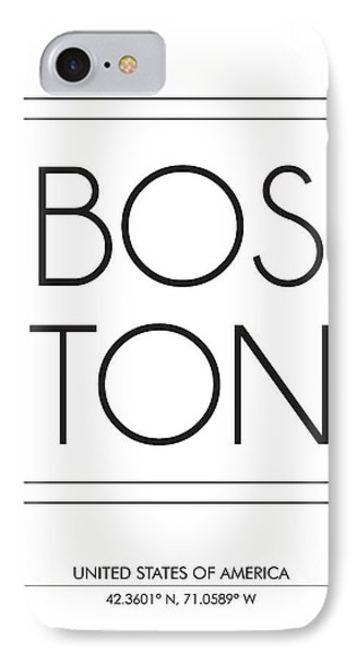 Boston City Print With Coordinates IPhone Case