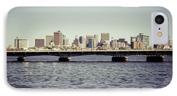 Boston Skyline And Back Bay Harvard Bridge Retro Photo IPhone Case