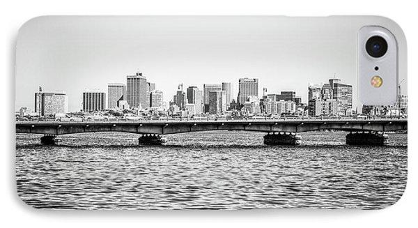 Boston Skyline And Harvard Bridge Black And White Photo IPhone Case