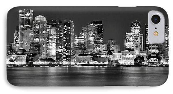 Boston Skyline At Night Panorama Black And White IPhone Case