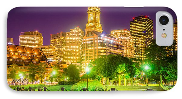 Boston Skyline At Night With Christopher Columbus Park IPhone Case