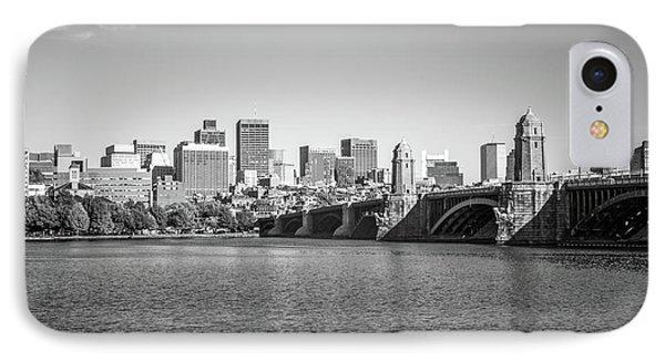 Boston Skyline Longfellow Bridge Black And White Photo IPhone Case
