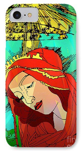 Botticelli Madonna Abstract Background IPhone Case