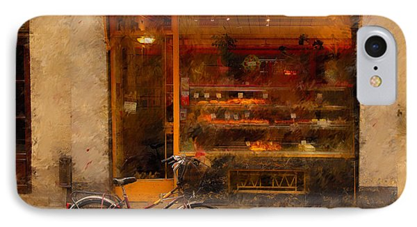 French iPhone 8 Case - Boulangerie And Bike 2 by Mick Burkey