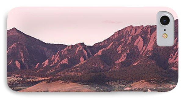 Boulder Colorado Flatirons 1st Light Panorama IPhone Case