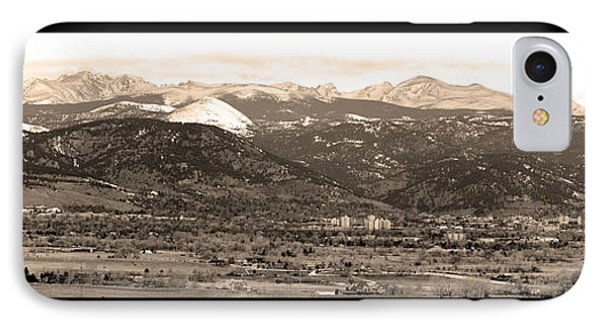 Boulder Colorado Sepia Panorama Poster Print IPhone Case