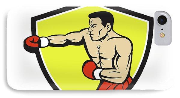 Boxer Jabbing Punching Crest Cartoon IPhone Case