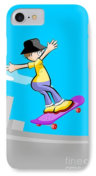 Boy In Skating Park Flying With His Violet Skateboard IPhone Case