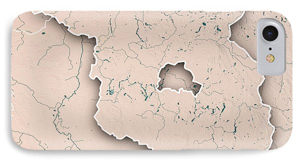 Brandenburg Bundesland 3d Render Topographic Map Neutral Border IPhone Case