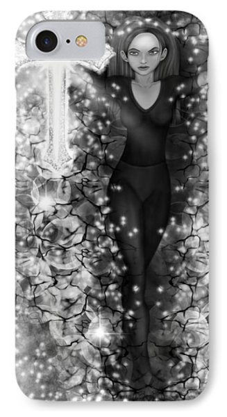 Breaking Through Darkness - Black And White Fantasy Art IPhone Case