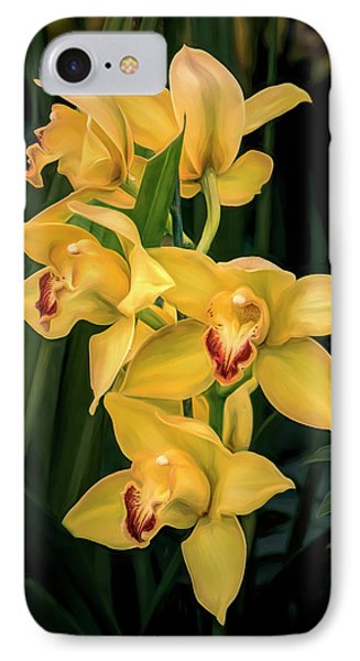 Orchid iPhone 8 Case - Bright Yellow Orchids by Tom Mc Nemar
