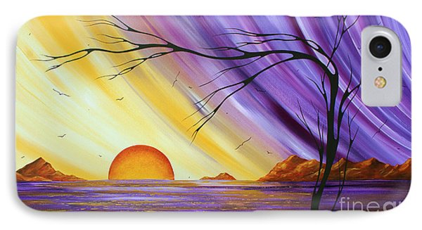 Brilliant Purple Golden Yellow Huge Abstract Surreal Tree Ocean Painting Royal Sunset By Madart IPhone Case