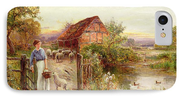 Rural Scenes iPhone 8 Case - Bringing Home The Sheep by Ernest Walbourn