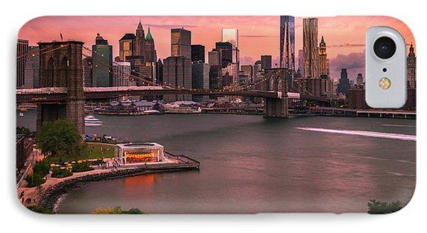 Brooklyn Bridge Over New York Skyline At Sunset IPhone Case