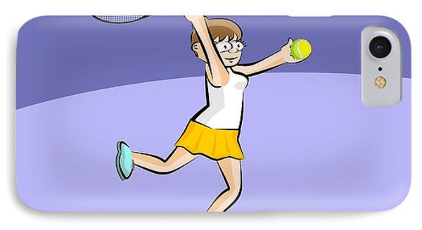 Brown Hair Girl With Racket And Tennis Ball In Hand IPhone Case
