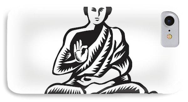 Buddha Lotus Pose Woodcut IPhone Case