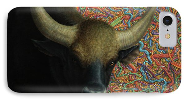 Bull iPhone 8 Case - Bull In A Plastic Shop by James W Johnson