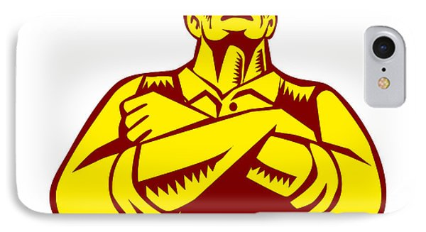 Businessman Arms Crossed Woodcut IPhone Case