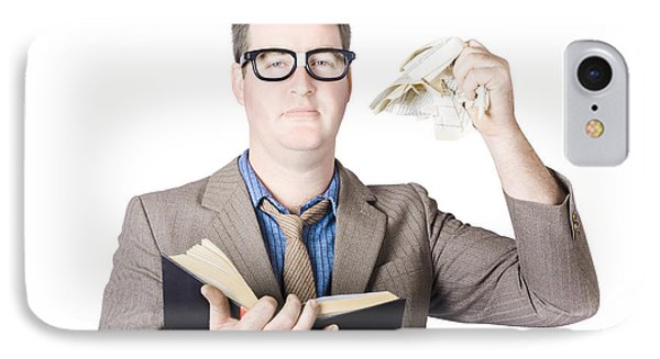 Businessman Tearing Pages From Book IPhone Case